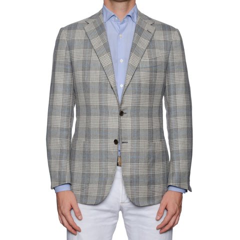 KITON Handmade Gray Plaid Cashmere-Linen-Silk Jacket EU 48 NEW US 38