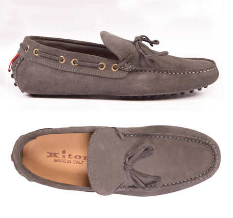 KITON NAPOLI Gray Suede Loafers Driving Car Shoes Moccasins NEW ART 005 - SARTORIALE - 1