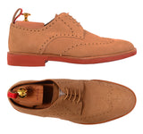 KITON NAPOLI Beige Suede Brogue Derby Buck Wingtip Shoes UK 9 NEW US 10 - SARTORIALE - 1