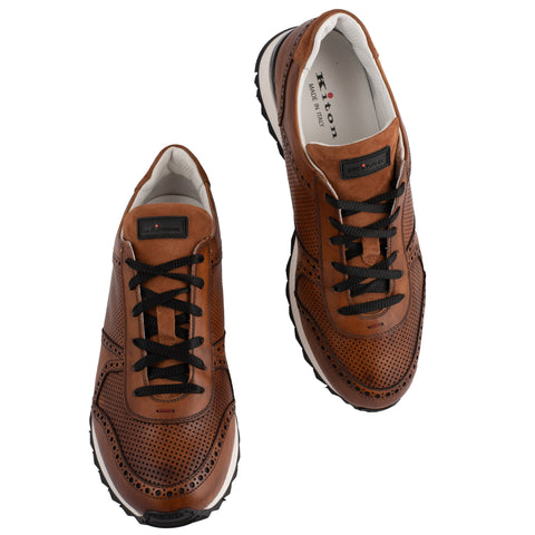 KITON NAPOLI Handmade Brown Leather Athletic Sneakers UK 7 NEW US 8