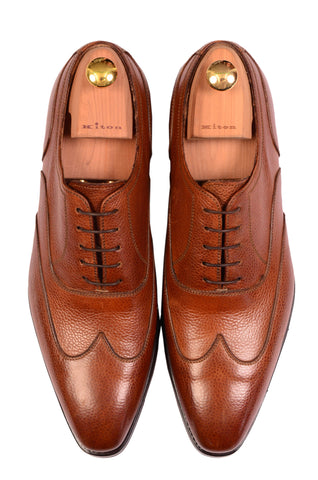 KITON NAPOLI Handmade Brown Scotchgrain Leather Oxford Dress Shoes NEW - SARTORIALE - 2