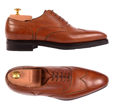 KITON NAPOLI Handmade Brown Scotchgrain Leather Oxford Dress Shoes NEW - SARTORIALE - 1