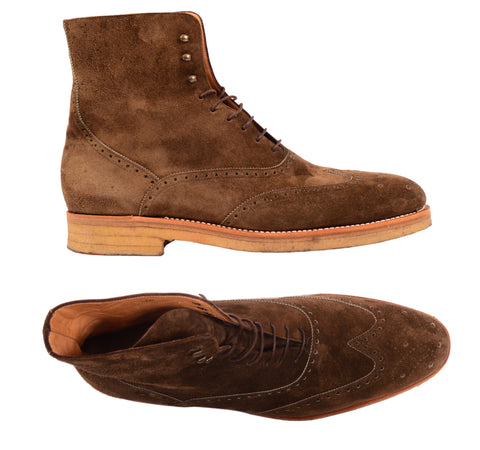 KITON NAPOLI Brown Suede Wingtip Crepe Sole Military Boots Shoes UK 10 NEW US 11 - SARTORIALE - 1
