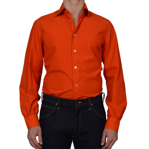 KITON NAPOLI Handmade Orange Cotton Garment Dyed Shirt EU 42 NEW US 16.5