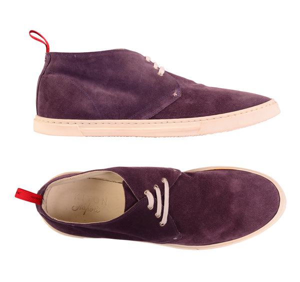 KITON NAPOLI Purple Suede Leather Casual Chukka Boots Shoes 9 NEW US 10 - SARTORIALE - 1