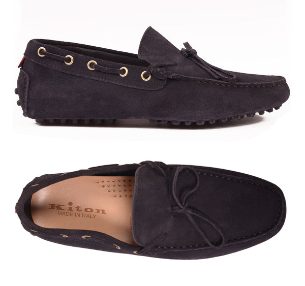 KITON NAPOLI Navy Blue Suede Loafers Driving Car Shoes Moccasins NEW - SARTORIALE - 1
