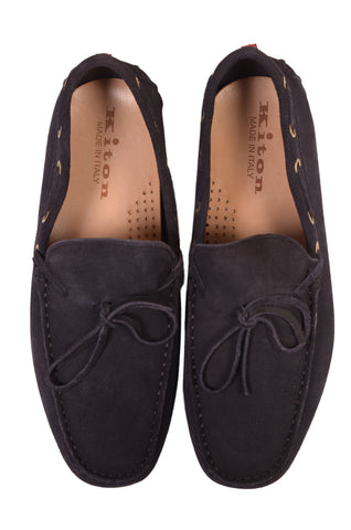 KITON NAPOLI Navy Blue Suede Loafers Driving Car Shoes Moccasins NEW - SARTORIALE - 2