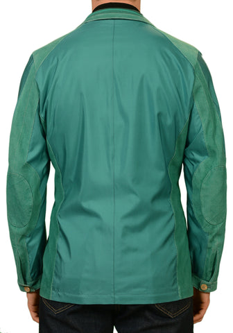KITON Napoli Turquoise Silk Suede Leather Jacket Blazer Coat EU 50 NEW US 38 40