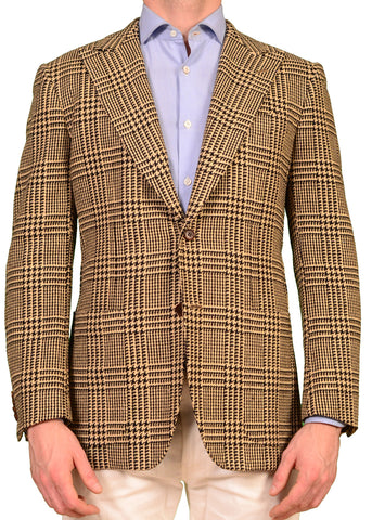 KITON Napoli Beige Plaid Silk-Cotton Jacket US 38 40 NEW EU 50 R9 Slim Fit - SARTORIALE - 1