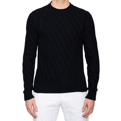 KITON Napoli Black Cashmere Chunky Knit Crewneck Sweater EU 50 NEW US M