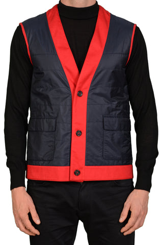 KITON Napoli Blue-Red Cashmere Lined Vest EU 50 NEW US 40 M