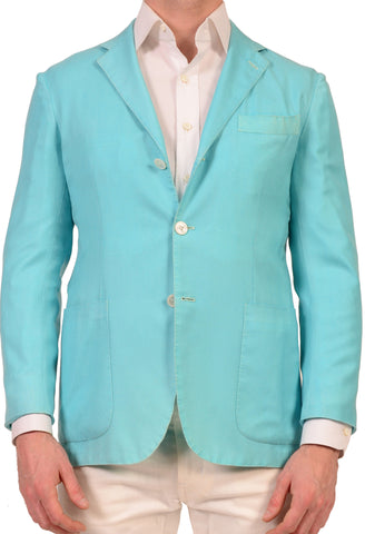 KITON Napoli Blue Cashmere-Silk Garment Dyed Soft Jacket US 38 NEW EU 48 - SARTORIALE - 1