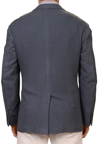 KITON Napoli Blue Cashmere Silk Flannel Jacket Blazer EU 51 NEW US 40