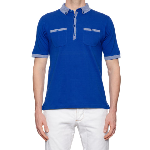 KITON Napoli Blue Cotton Pique Button-Down Polo Shirt EU 50 NEW US M