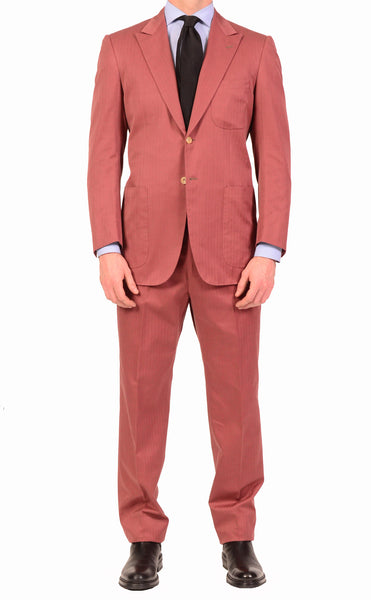 KITON Napoli Brick Red Herringbone Cotton-Cashmere Suit EU 51 NEW US 40 Slim R9 - SARTORIALE - 1