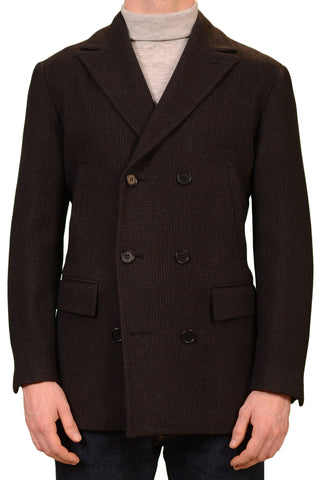 KITON Napoli CIPA 1960 Brown Black Paid Wool Pea Coat Jacket EU 50 NEW US 40