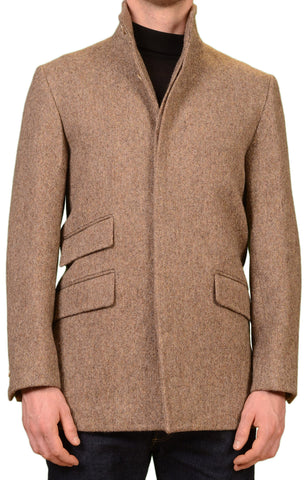 KITON Napoli CIPA 1960 Beige Wool Tweed Jacket Coat EU 50 NEW US 38 40 Slim
