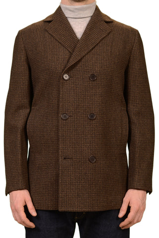 KITON Napoli CIPA 1960 Brown Plaid Wool Flannel Pea Coat Jacket NEW