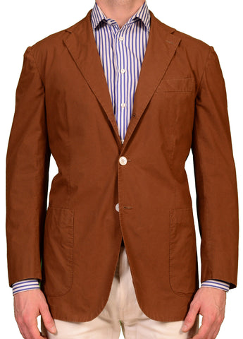 KITON Napoli Brown Cotton Summer Unconstructed Blazer Jacket US L NEW EU 52 - SARTORIALE - 1