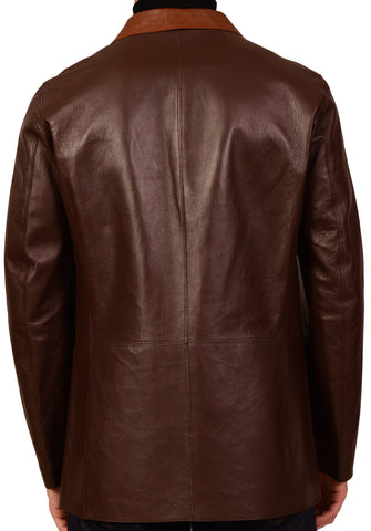 KITON Napoli Brown Leather Jacket Coat Blazer EU 50 NEW US 38 40 - SARTORIALE - 4
