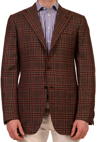 KITON Napoli Brown Plaid Cashmere Linen Silk Jacket US 38 40 NEW EU 50 L8 Long - SARTORIALE - 1