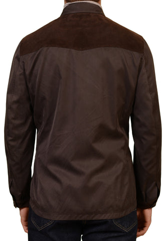 KITON Napoli Brown Silk Spring Jacket with Lambskin Leather Trims 50 NEW US 40