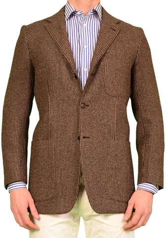KITON Napoli Brown Striped Cashmere Wool Jacket US 38 40 NEW EU 50 R8 Slim - SARTORIALE - 1