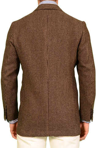 KITON Napoli Brown Striped Cashmere Wool Jacket US 38 40 NEW EU 50 R8 Slim - SARTORIALE - 2