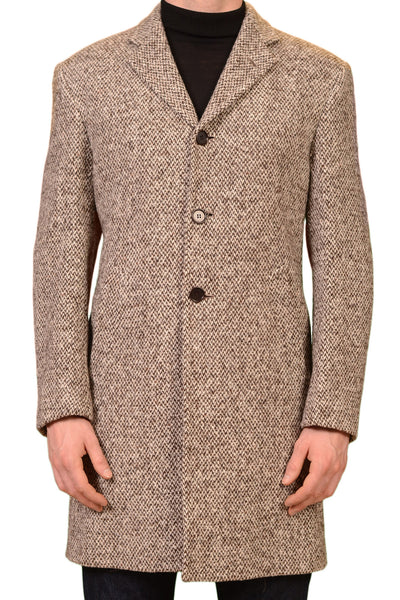 KITON Napoli CIPA1960 Hand Made Brown Wool Tweed Over Coat NEW