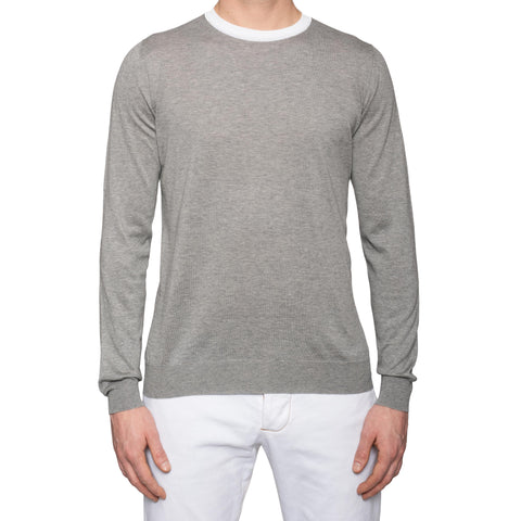 "KITON Napoli ""CIPA 1960"" Gray Cotton Crewneck Sweater NEW"