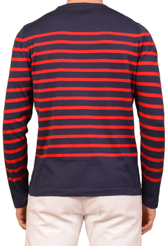 "KITON Napoli ""CIPA 1960"" Blue Striped Cotton Crewneck Sweater EU 50 NEW US M"