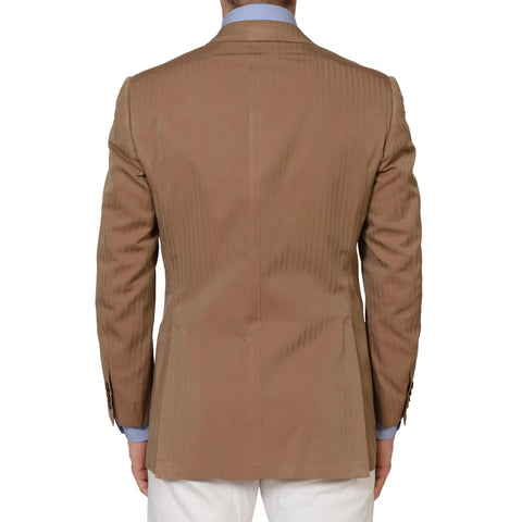 KITON Napoli CIPA 1960 Brown Herringbone Cotton Silk Solaro Jacket 50 NEW US 40