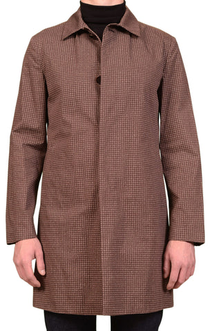 KITON Napoli CIPA 1960 Brown Houndstooth Rain Jacket Coat 48 NEW 38