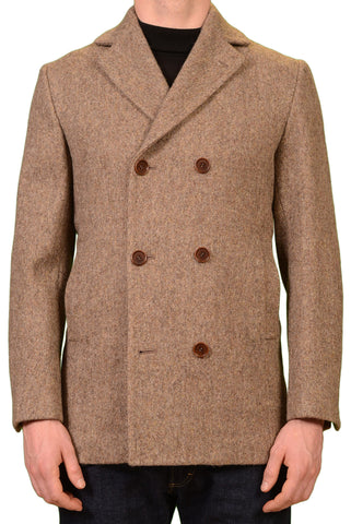 KITON Napoli CIPA 1960 Beige Wool Tweed DB Jacket Pea Coat EU 56 NEW US 46 / XXL