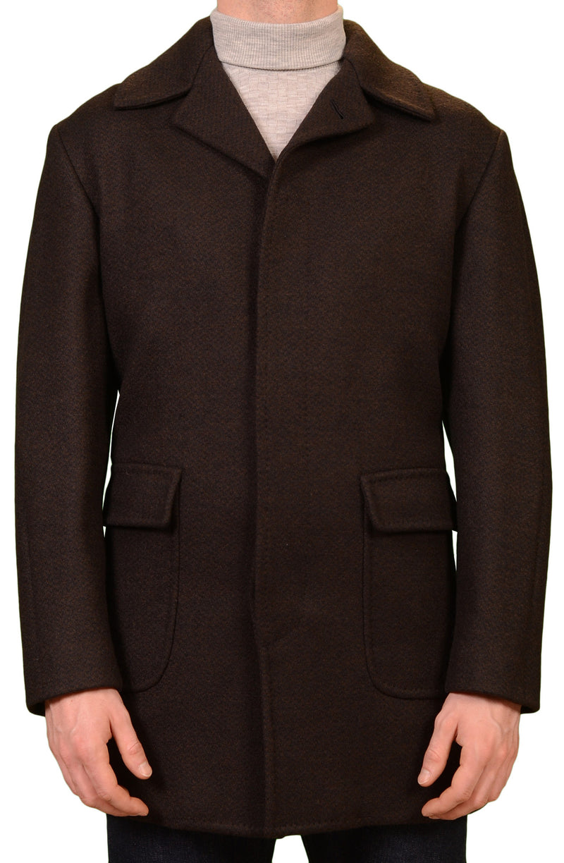 KITON Napoli CIPA 1960 Hand Made Dark Brown Wool Jacket Coat NEW