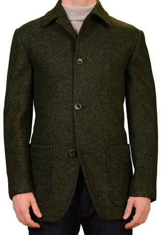 KITON Napoli CIPA 1960 Green Silk Linen Tweed Jacket Coat EU 50 NEW US 38 40