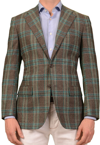 KITON Napoli CIPA 1960 Handmade Gray Windowpane Wool Jacket 48 NEW US 38 Slim