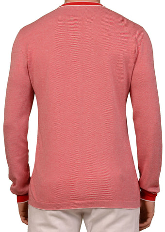 "KITON Napoli ""CIPA 1960"" Red Striped Cotton V-Neck Sweater EU 50 NEW US M"