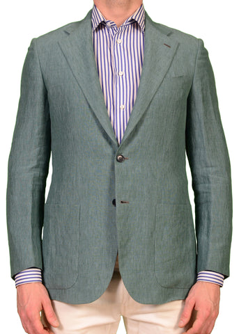 "KITON Napoli ""CIPA 1960"" Solid Green Linen Jacket EU 46 NEW US 36 R9 Slim Fit - SARTORIALE - 1"