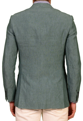 "KITON Napoli ""CIPA 1960"" Solid Green Linen Jacket EU 46 NEW US 36 R9 Slim Fit - SARTORIALE - 2"