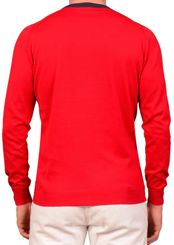 "KITON Napoli ""CIPA 1960"" Solid Red Cotton Crewneck Sweater EU 50 NEW US M"