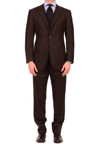 KITON Napoli Charcoal Brown Striped Pure Cashmere Suit US 38 40 NEW EU 50 R7 - SARTORIALE - 1