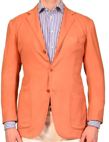 KITON Napoli Orange Wool-Silk Unconstructed Summer Blazer Jacket NEW S M 48 - SARTORIALE - 1