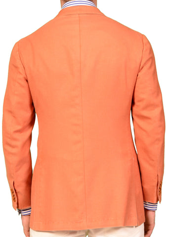 KITON Napoli Orange Wool-Silk Unconstructed Summer Blazer Jacket NEW S M 48 - SARTORIALE - 2