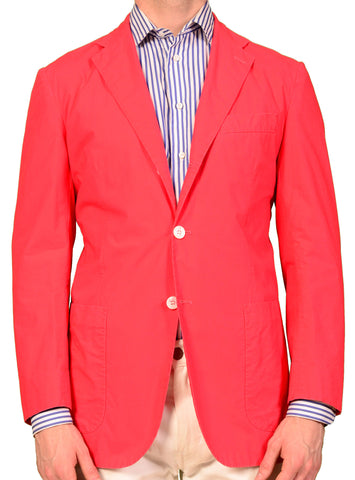 KITON Napoli Coral Red Cotton Garment Dyed Unconstructed Jacket NEW S-M 48 - SARTORIALE - 1