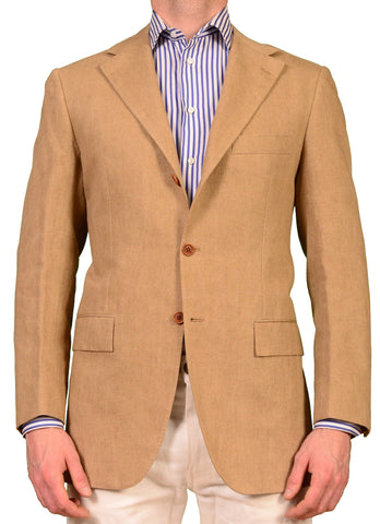 KITON Napoli Dark Tan Cotton-Linen Blazer Summer Jacket EU 50 NEW US 38 40 R7 - SARTORIALE - 1