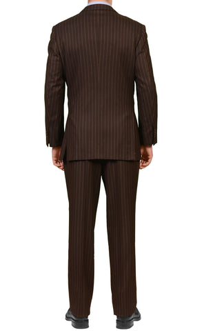 KITON Napoli Diplomat Brown Striped Wool-Cashmere Suit EU 56 NEW US 46