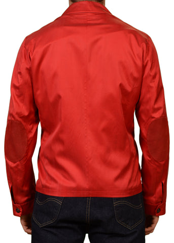 KITON Napoli Ferrari Red Silk Spring Jacket w. Lambskin Leather Trims 50 NEW 40
