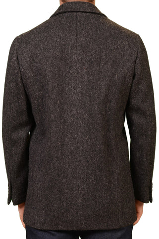 KITON Napoli CIPA 1960 Dark Gray Wool Tweed DB Pea Coat Jacket M NEW 50 Slim
