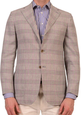 KITON Napoli Gray Prince Of Wales Cashmere Linen Blazer Jacket NEW R8 Slim Fit - SARTORIALE - 1
